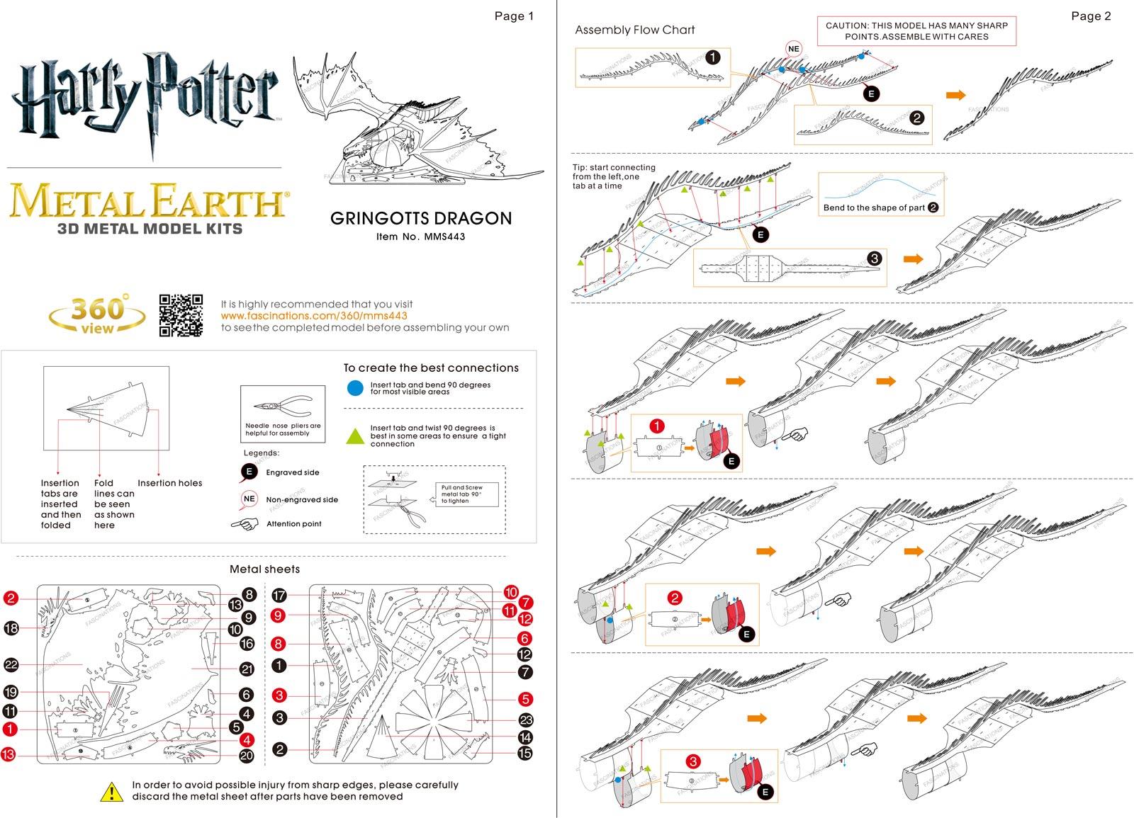 Metal Earth Harry Potter Gringott S Dragon 3d Miniature