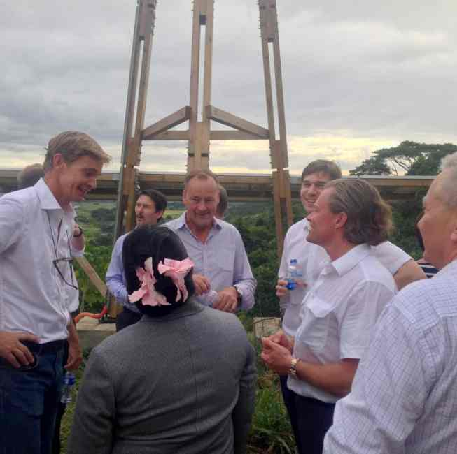 Swedish Ambassador in the Philippines (on the left) visiting the installation site