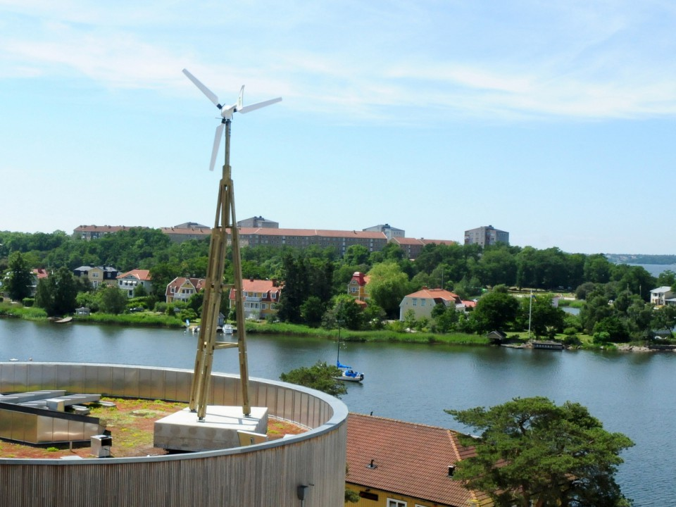 Dali Performance small wind turbine installed on the roof of Blekinge Tekniska Högskola BTH in Karlskrona
