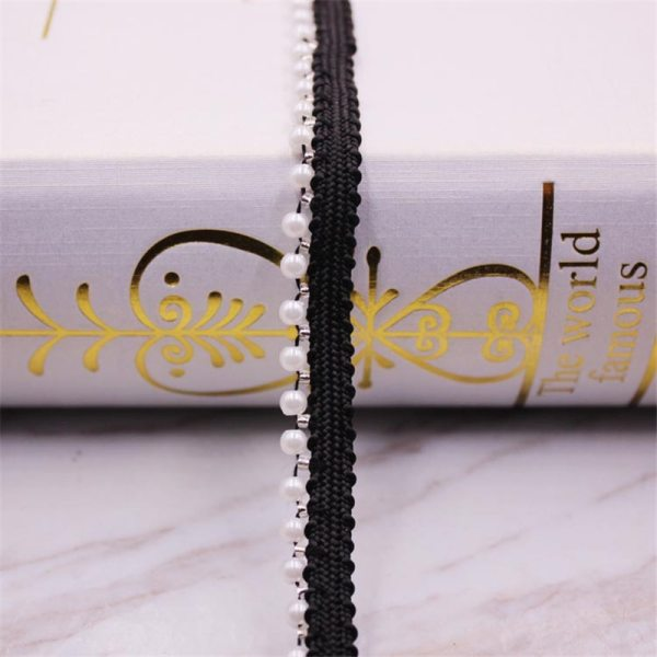 1 Yards White black Pearl Beaded Lace Trim Tape Lace Ribbon African Lace Fabric Collar Dress 4 1 Yards White/black Pearl Beaded Lace Trim Tape Lace Ribbon African Lace Fabric Collar Dress Sewing Garment Headdress Materials