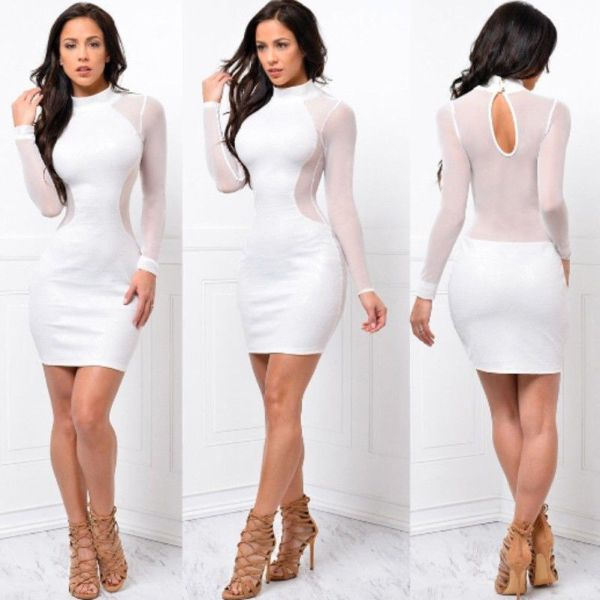 2018 New Women Sexy Skinny Bodycon Long Sleeve Sheer See Through Party Slim Club Wear Casual 3 2018 New Women Sexy Skinny Bodycon Long Sleeve Sheer See Through Party Slim Club Wear Casual Short Mini Dress