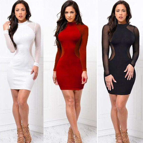 2018 New Women Sexy Skinny Bodycon Long Sleeve Sheer See Through Party Slim Club Wear Casual 2018 New Women Sexy Skinny Bodycon Long Sleeve Sheer See Through Party Slim Club Wear Casual Short Mini Dress