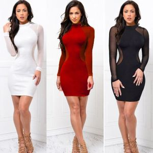 2018 New Women Sexy Skinny Bodycon Long Sleeve Sheer See Through Party Slim Club Wear Casual Innrech Market.com