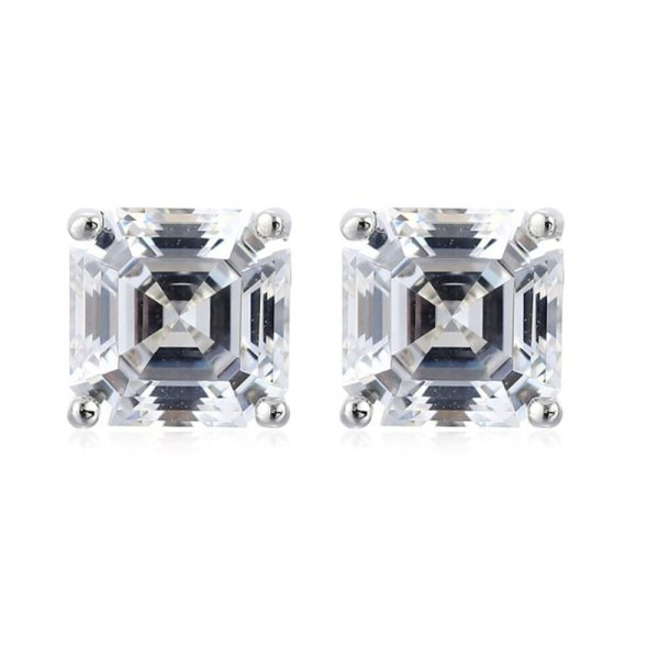 AINUOSHI Brand Sparkling Square Stud Earring Asscher Cut Sona Diamond Pure 925 Sterling Silver Shining Earring AINUOSHI Brand Sparkling Square Stud Earring Asscher Cut Sona Diamond Pure 925 Sterling Silver Shining Earring Lady Jewelry Gift