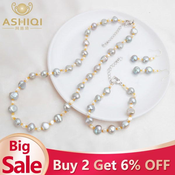 ASHIQI Natural Baroque pearl Jewelry Sets Real Freshwater Pearl Necklace Bracelet 925 Sterling Silver Earrings Women ASHIQI Natural Baroque pearl Jewelry Sets Real Freshwater Pearl Necklace Bracelet 925 Sterling Silver Earrings Women New Arrival