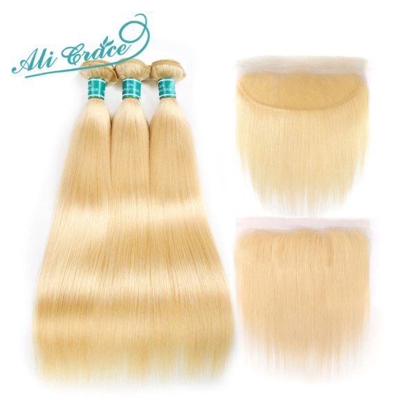 Ali Grace Hair Blonde 613 Bundles With Frontal Brazilian Straight Bundles with Closure 13 4 Remy Ali Grace Hair Blonde 613 Bundles With Frontal Brazilian Straight Bundles with Closure 13*4 Remy Blonde Bundles With Frontal