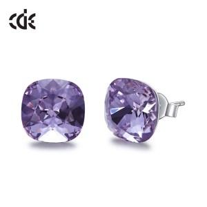 CDE 925 Sterling Silver Earrings Square Embellished with crystals Stud Earrings Women Earrings Womens Jewellery Innrech Market.com