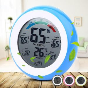 Digital LCD Display Indoor Thermometer Hygrometer Round Wireless Electronic Temperature Humidity Meter Weather Station Tester Innrech Market.com