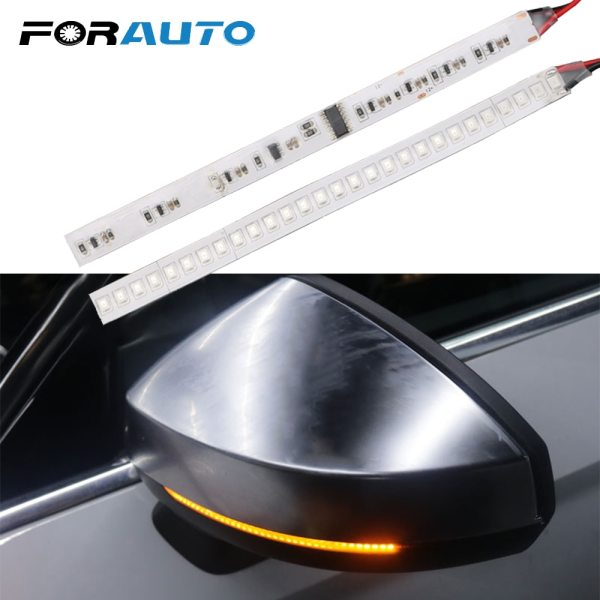 FORAUTO 1 Pair Car Rearview Mirror Indicator Lamp Streamer Strip Flowing Turn Signal Lamp Amber LED FORAUTO 1 Pair Car Rearview Mirror Indicator Lamp Streamer Strip Flowing Turn Signal Lamp Amber LED Car Light Source 28 SMD