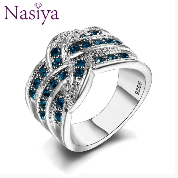 Fine Jewelry Luxury Party Queen Aquamarine Finger Rings For Women 925 Silver Jewelry Wedding Engagement Ring Fine Jewelry Luxury Party Queen Aquamarine Finger Rings For Women 925 Silver Jewelry Wedding Engagement Ring Gift Wholesale