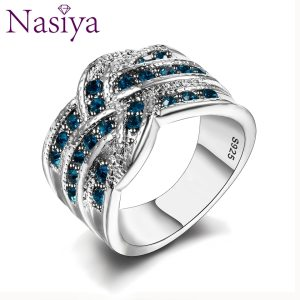 Fine Jewelry Luxury Party Queen Aquamarine Finger Rings For Women 925 Silver Jewelry Wedding Engagement Ring Innrech Market.com