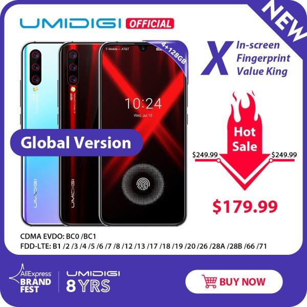"Global Version UMIDIGI X In screen Fingerprint 6 35 AMOLED 48MP Triple Rear Camera 128GB NFC Global Version UMIDIGI X In-screen Fingerprint 6.35"" AMOLED 48MP Triple Rear Camera 128GB NFC Helio P60 4150mAh Cellphone"