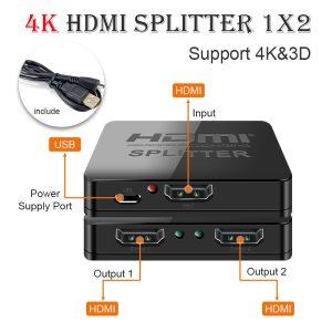 Hdmi Splitter 1 in 2 out 1080p 4K 1x2 HDCP Stripper 3D Splitter Power Signal Amplifier Innrech Market.com