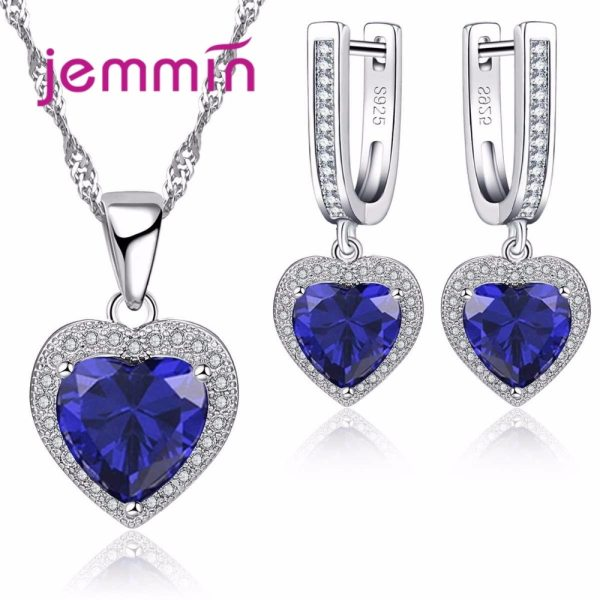 Hot Sale Heart Shape Bule Crystal 925 Sterling Silver Necklace And Earrings Set For Women Female Hot Sale Heart Shape Bule Crystal 925 Sterling Silver Necklace And Earrings Set For Women Female Party Engagement