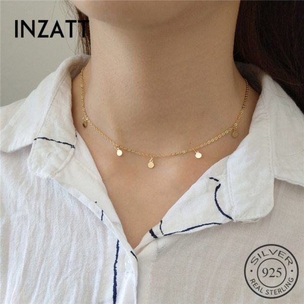 INZATT Real 925 Sterling Silver Boho Bright disc Choker Necklace Fine Jewelry For Fashion Women Party INZATT Real 925 Sterling Silver Boho Bright disc Choker Necklace Fine Jewelry For Fashion Women Party Personality Accessories