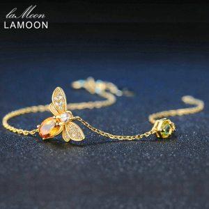 LAMOON Cute Bee 925 Sterling Silver Bracelet Woman love Citrine Gemstones Jewelry 14K Gold Plated Designer Innrech Market.com
