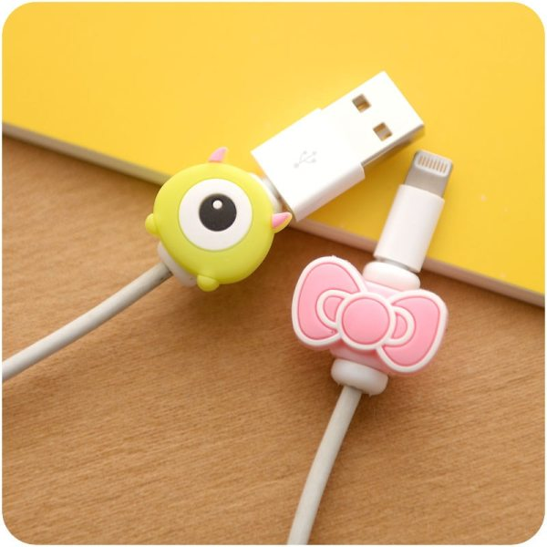 Lovely Cartoon Charger Cable Winder Protective Case Saver 8 Pin Data line Protector Earphone Cord Protection 1 Lovely Cartoon Charger Cable Winder Protective Case Saver 8 Pin Data line Protector Earphone Cord Protection Sleeve Wire Cover