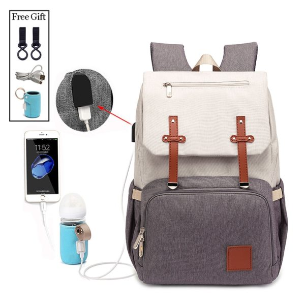 New Fashion Women Backpack With USB Mummy Daddy Outdoor Travel Diaper Bags Pure Large Waterproof Nursing New Fashion Women Backpack With USB Mummy Daddy Outdoor Travel Diaper Bags Pure Large Waterproof Nursing Bag Baby Care Nappy Bag