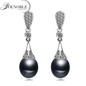 Real freshwater natural pearl earrings women anniversary gift bridal black 925 silver earrings with pearls Innrech Market.com