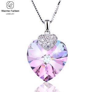 Swarovski Crystal Necklace Heart Shape Amethyst Crystal Pendant Necklace Fashion Jewelry Choker Necklace Gift for Lady Innrech Market.com