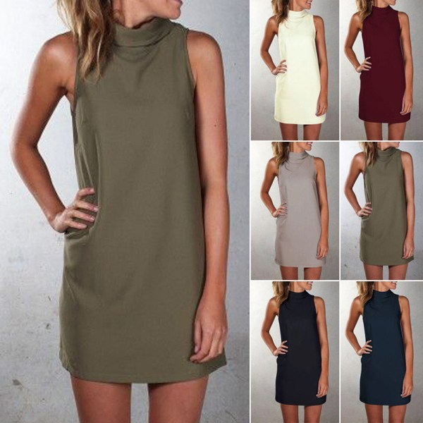 Women summer dress 2019 cheap hot cakes hot style high necked sleeveless cultivate dresses quantity vestidos Women summer dress 2019 cheap hot cakes hot style high-necked sleeveless cultivate dresses quantity vestidos LX1027