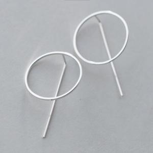 exaggerated lady s new 1Pair REAL 925 Sterling Silver Jewelry Circle Bar Geometric Long Earrings Dangle Innrech Market.com