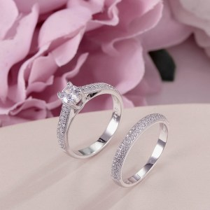 100 Real 925 Silver Rings For Women Simple Double Stackable Fine Jewelry Bridal Sets Ring Wedding Innrech Market.com