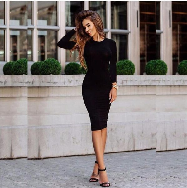 2019 Autumn Hot Slim Bodycon Dress Women Solid Color Chic Party Dresses Casual Sleep Wear Inside 4 2019 Autumn Hot Slim Bodycon Dress Women Solid Color Chic Party Dresses Casual Sleep Wear Inside Wear Vestidos Pencil Dress