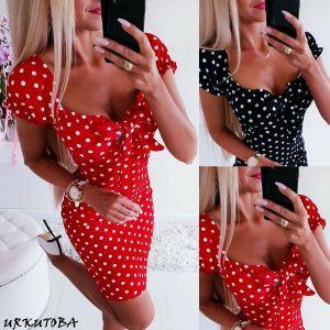 2019 Newest Hot Women Boho Polka Dot Printed Sexy Bow Bodycon Dress Summer Holiday Sundress Beachwear Innrech Market.com