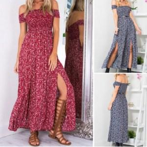 2019 arrival Women Off Shoulder Floral Bodycon Off Shoulder Club Party Long Dress Innrech Market.com