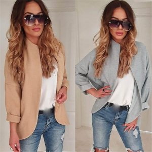 2019 autumn fashion Womens Casual Cardigan Solid Color Simple Jacket Leisure Coat Outwear Freeship new Jacket Innrech Market.com