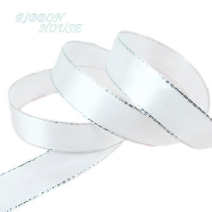 25yards roll White Silver Edge Satin Ribbon Wholesale high quality gift packaging Christmas ribbons 6 Innrech Market.com
