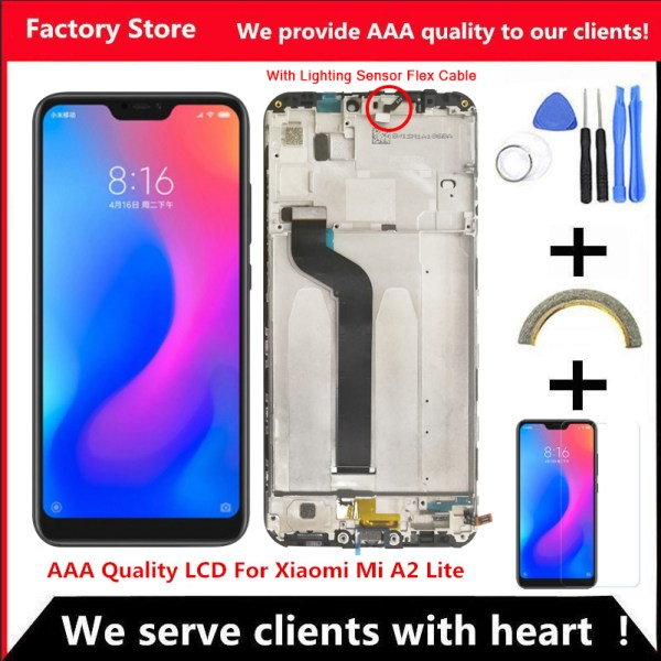 """5 84 AAA Quality IPS LCD Frame For Xiaomi Mi A2 Lite LCD Display Screen Replacement 5.84"""" AAA Quality IPS LCD+Frame For Xiaomi Mi A2 Lite LCD Display Screen Replacement For Redmi 6 Pro LCD 2280*1080 Resolution"""