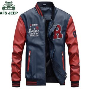 AFS JEEP Embroidery Baseball Jackets Men Letter Stand Collar Pu Leather Coats Plus Size 4XL Fleece Innrech Market.com