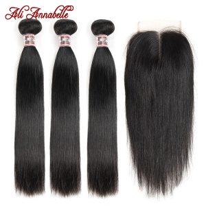 ALI ANNABELLE HAIR Straight Hair Bundles with Closure 100 Remy Human Hair Bundles with Closure Brazilian Innrech Market.com
