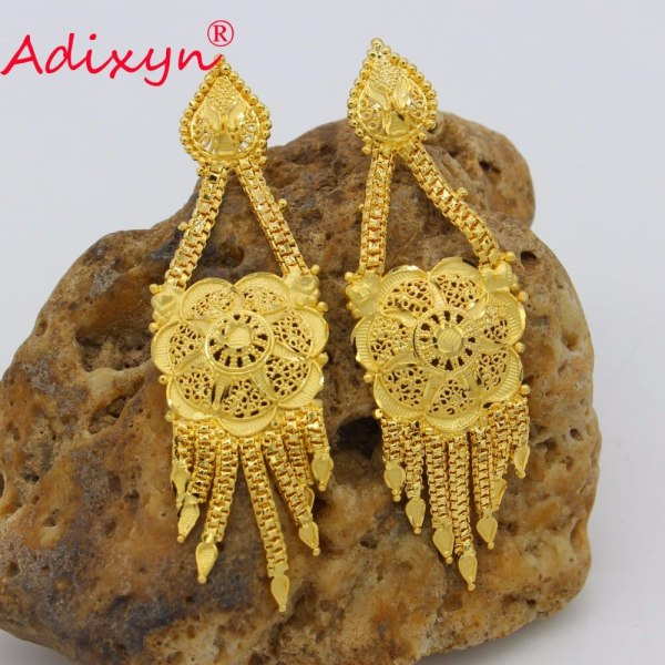Adixyn Fashion African India Necklace Earrings Jewelry Set For Women Gold Color Arab Wedding Party Birthday 4 Adixyn Fashion African India Necklace Earrings Jewelry Set For Women Gold Color Arab Wedding/Party/Birthday Bride Gifts N031292