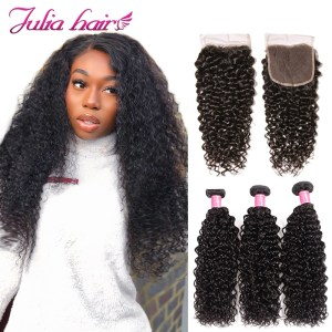 Ali Julia Hair Malaysian Curly Human Hair Bundles With Closure Free Middle Three Part Lace 3 Innrech Market.com