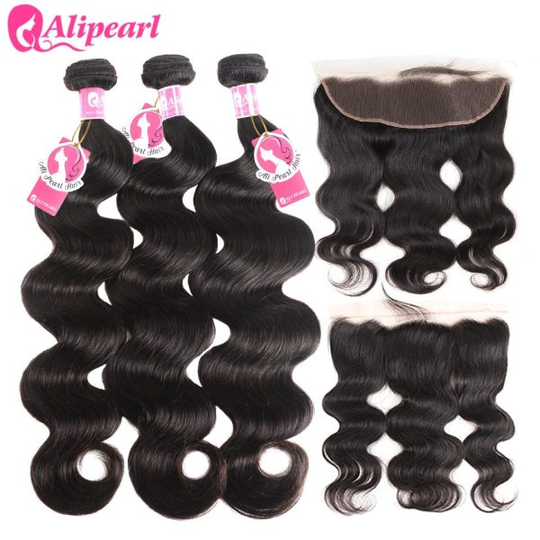 AliPearl Brazilian Body Wave 3 Bundles With Frontal Closure Brazilian Hair Weave Bundles With Frontal AliPearl Brazilian Body Wave 3 Bundles With Frontal Closure Brazilian Hair Weave Bundles With Frontal 13x4 Remy Hair Extension
