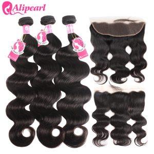 AliPearl Brazilian Body Wave 3 Bundles With Frontal Closure Brazilian Hair Weave Bundles With Frontal Innrech Market.com