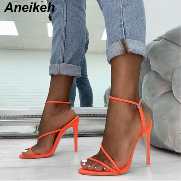 Aneikeh 2019 New Fashion Sandals Ankle Strap Cross Strap Woman Sandals 12CM High Heels Narrow Band 2 Aneikeh 2019 New Fashion Sandals Ankle Strap Cross-Strap Woman Sandals 12CM High Heels Narrow Band Slip-On Sandals Dress Pumps