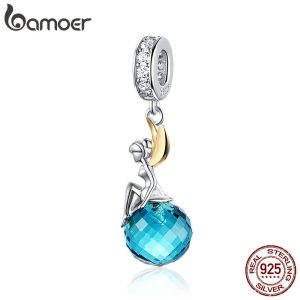 BAMOER Authentic 925 Sterling Silver Elf Planet Blue Zircon Pendant Charms fit Original Necklaces Bangles Jewelry Innrech Market.com