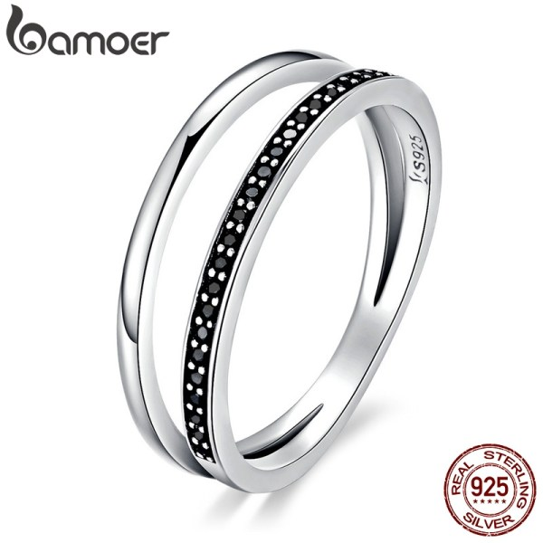 BAMOER Genuine 925 Sterling Silver Double Circle Black Clear CZ Stackable Finger Ring for Women Fine BAMOER Genuine 925 Sterling Silver Double Circle Black Clear CZ Stackable Finger Ring for Women Fine Silver Jewelry Gift SCR082