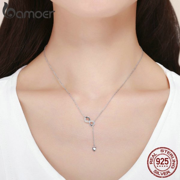 BAMOER Hot Sale 100 925 Sterling Silver Infinity Forever Love Chain Pendant Necklaces for Women Sterling 4 BAMOER Hot Sale 100% 925 Sterling Silver Infinity Forever Love Chain Pendant Necklaces for Women Sterling Silver Jewelry SCN223