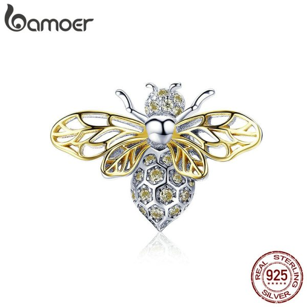 BAMOER Hot Sale Authentic 925 Sterling Silver Crystal Bee Beads Charms fit for Original Charms Women BAMOER Hot Sale Authentic 925 Sterling Silver Crystal Bee Beads Charms fit for Original Charms Women Luxury DIY Jewelry BSC067