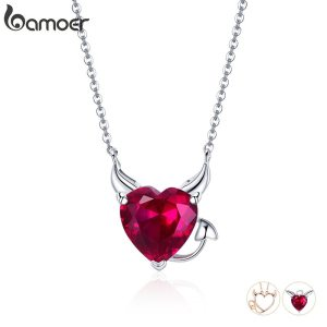 BAMOER New Collection 100 925 Sterling Silver Devil Wings Red CZ Necklaces Pendant For Women Fashion Innrech Market.com