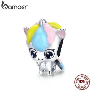BAMOER New Collection 925 Sterling Silver Colorful Enamel Licorne Beads fit Charms Bracelets Necklaces DIY Jewelry Innrech Market.com