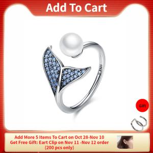 BISAER 100 925 Sterling Silver Female Mermaid Tail Adjustable Finger Rings for Women Wedding Engagement Jewelry Innrech Market.com