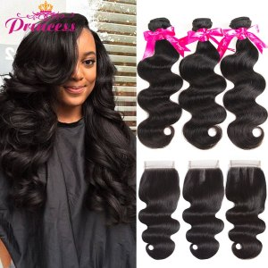 Beautiful Princess Body Wave Human Hair Bundles With Closure Double Weft Remy Brazilian Hair Weave 3 Innrech Market.com