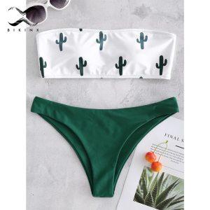 Bikinx Bandeau swimwear women push up swimsuit female Cactus Print micro bikini 2019 sexy bathing suit Innrech Market.com