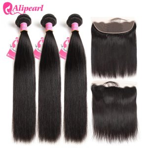 Brazilian Straight Human Hair Bundles With Lace Frontal Closure Pre Plucked 13x6 Lace Frontal With 3 Innrech Market.com
